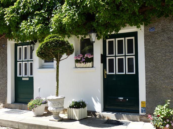 Biely dom, stromy, kvety v kvetináčoch a dve modré vchodové dvere